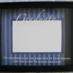 Graduate Frame Blue Striped Background