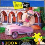 Travel Dogs Puzzle Poodle in Pink Car