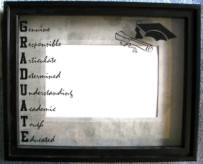 Graduate Photo Frame Glass Reflection Easel Or Hook