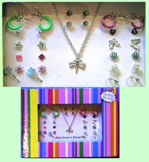 Dragonfly Necklace & 14 Pairs Earrings