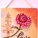 Love Wall Plaque with Pink Flower