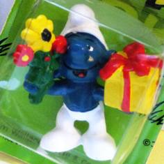 Smurf Carrying Present and Flowers