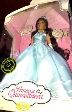 Princess Quinceanera Porcelain Doll in Aqua Blue Gown