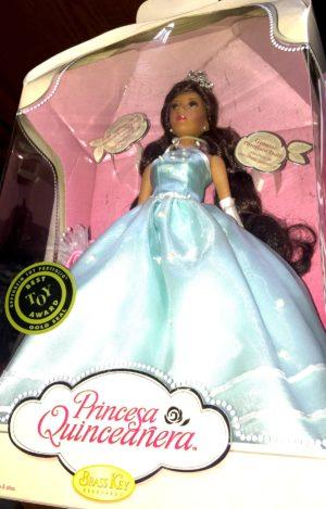 Princess Quinceanera Porcelain Doll in Aqua Blue Gown